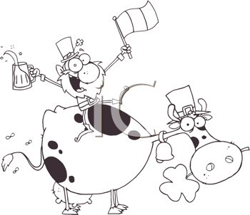 Royalty Free Clipart Image of a Leprechaun on a Cow Waving a Flag