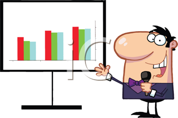 Royalty Free Clipart Image of a Man By a Chart With a Microphone