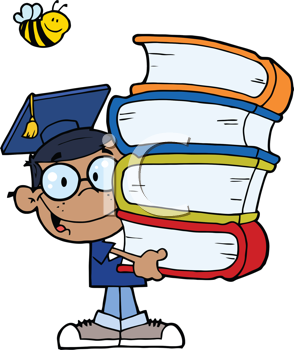 Royalty Free Clipart Image of an African American Graduate With Books