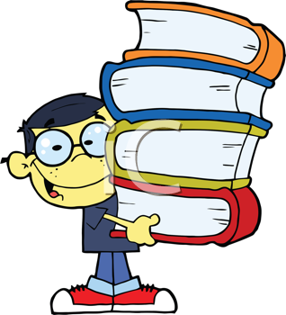 Royalty Free Clipart Image of an Asian Boy With Books in His Hands