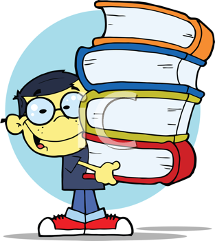 Royalty Free Clipart Image of an Asian Male Student Carrying Books