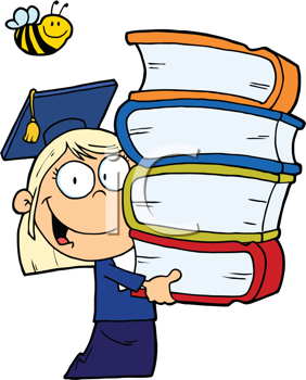 Royalty Free Clipart Image of a Girl Graduate With Books