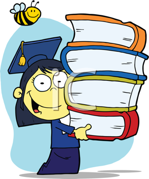 Royalty Free Clipart Image of a Chinese Girl Graduating With a Stack of Books and a Bee Over Her Head