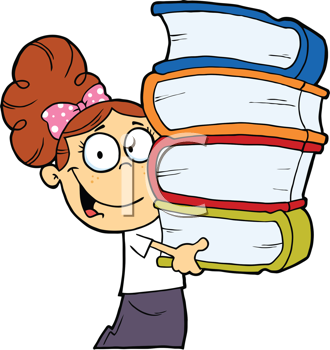 Royalty Free Clipart Image of a Girl Carrying a Stack of Books