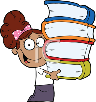Royalty Free Clipart Image of a Student Carrying Schoolbooks