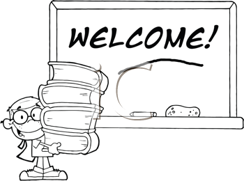 Royalty Free Clipart Image of a Student at a Welcome Chalkboard