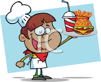Royalty Free Clipart Image of an African American Boy With a Tray of Fast Food