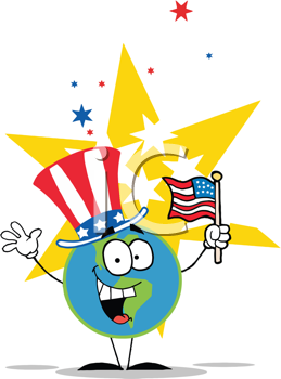Royalty Free Clipart Image of a Globe Wearing an American Hat and Waving a Flag in Front of a Star