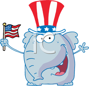 Royalty Free Clipart Image of an Elephant Waving an American Flag