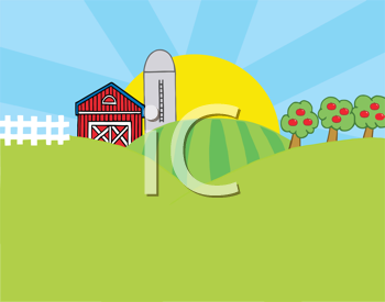 Royalty Free Clipart Image of a Country Scene