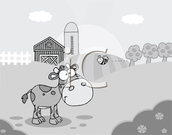 Royalty Free Clipart Image of a Calf and a Bee in a Barnyard