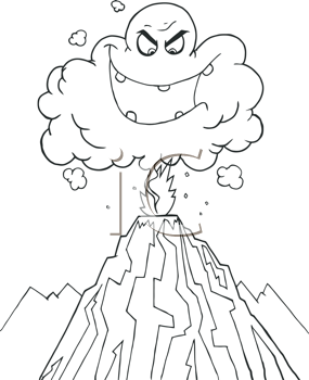 Royalty Free Clipart Image of a Cloud Over a Volcano