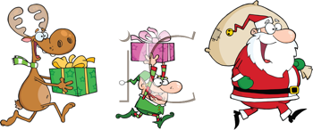 Royalty Free Clipart Image of a Reindeer Elf and Santa Running With Gifts