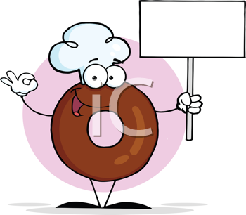 Royalty Free Clipart Image of a Donut With a Blank Sign
