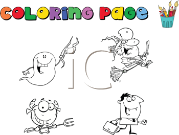 Royalty Free Clipart Image of a Halloween Colouring Page