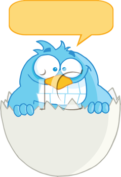 Royalty Free Clipart Image of a Bird in a Shell With a Speech Bubble