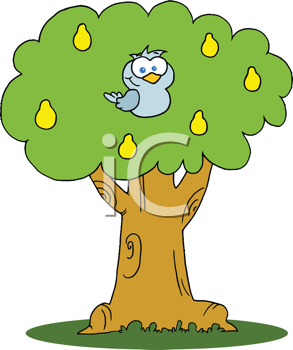 Royalty Free Clipart Image of a Bird in a Pear Tree