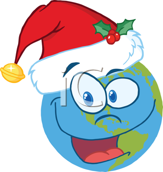 Royalty Free Clipart Image of a Globe With a Santa Hat