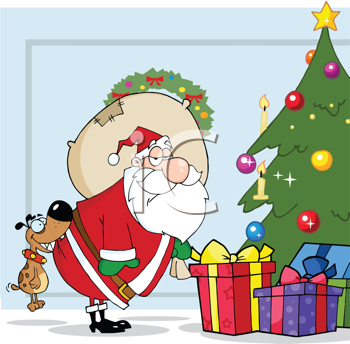 Royalty Free Clipart Image of Santa Delivering Presents and a Dog Biting His Bottom