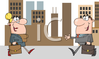 Royalty Free Clipart Image of a Businessman Meeting a Businesswoman