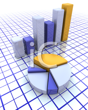 Royalty Free Clipart Image of a Bar Chart and Pie Chart