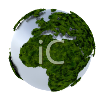 Royalty Free Clipart Image of Earth With Grass Covering the Land Masses