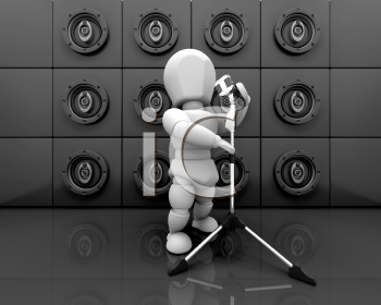 Royalty Free Clipart Image of a Person Singing