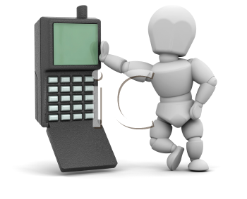 Royalty Free Clipart Image of a Person Beside a Mobile Phone