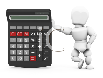 Royalty Free Clipart Image of a Person With a Calculator