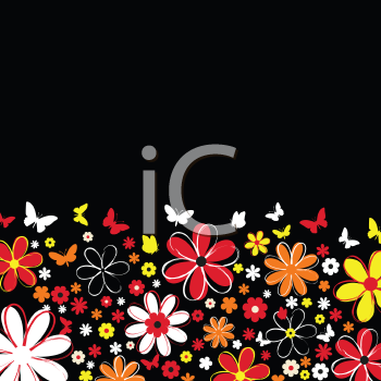 Background of flowers and butterflies