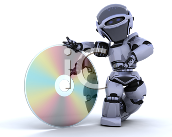 3D render of a robot with optical media disc