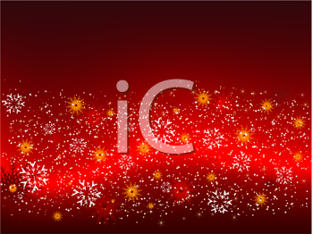 Decorative background of snowflakes and stars