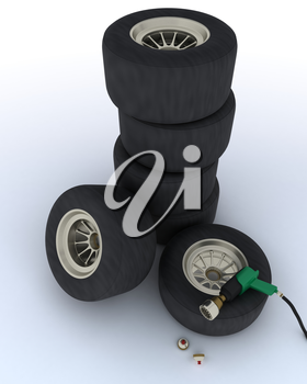 3D render of race car tyres for pit stop