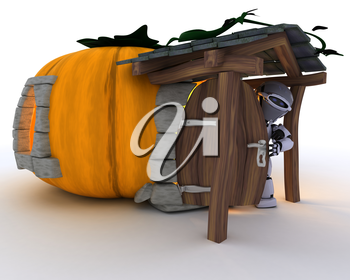 3D Render of Robot in Halloween Pumpkin Cottage