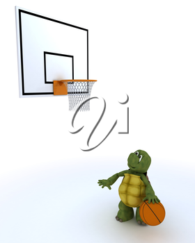 3D render of a tortoise playing basket ball