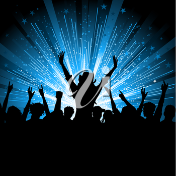 Silhouette of a crowd of party people on a star burst background