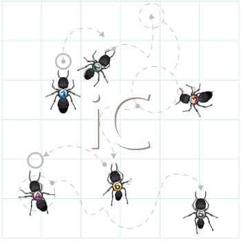 Royalty Free Clipart Image of a Ants Tracking
