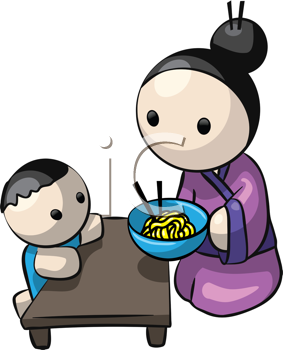 Royalty Free Clipart Image of a Japanese Woman and Child at Dinner