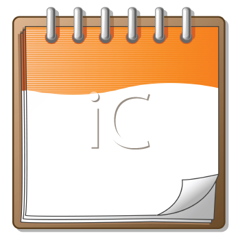 Royalty Free Clipart Image of an Orange Notepad
