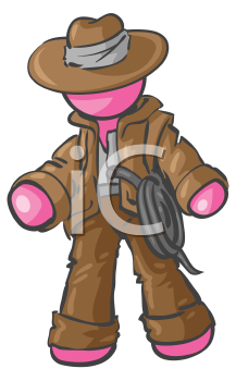Royalty Free Clipart Image of a Cowboy Adventurer
