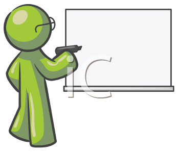 Royalty Free Clipart Image of a Green Guy Wearing Glasses in Front of a White Board