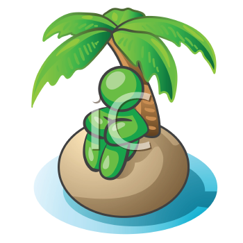Royalty Free Clipart Image of a Green Man on an Island