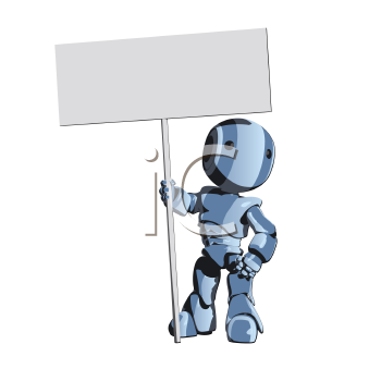 Royalty Free Clipart Image of a Robot Holding a Sign