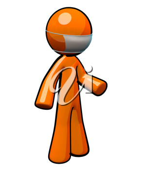 Royalty Free Clipart Image of an Orange Man Wearing a Mask