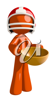Football player orange man holding an empty bowl