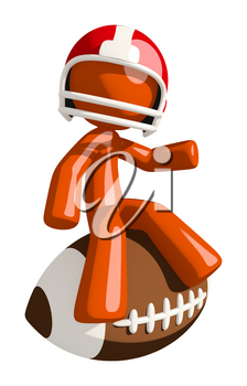 Football player orange man sitting on a giant football waving at the audience.