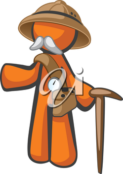Orange man with a Dr Livingstone hat, mustache, and general expedition costume. A generalized concept for knowledge, searching, exploration and humanitatian persuits.