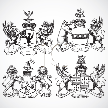 Royalty Free Clipart Image of Animal Shield Ornaments