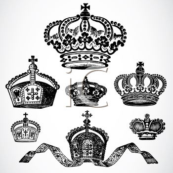 Royalty Free Clipart Image of Crowns