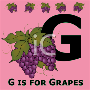 Royalty Free Clipart Image of G is for Grapes